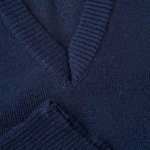 Vestes, gilets, pullovers: Gilet, cou en V, bleu