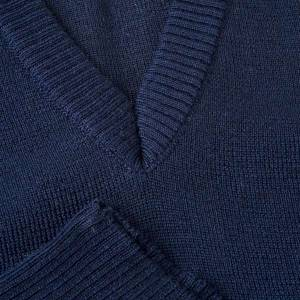 Gilet collo V blu maglia unita s3