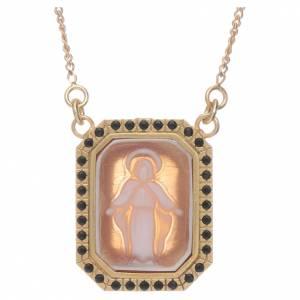Pendenti, croci, spille, catenelle: Girocollo in argento 925 con Madonna Miracolosa in cammeo e zirconi neri
