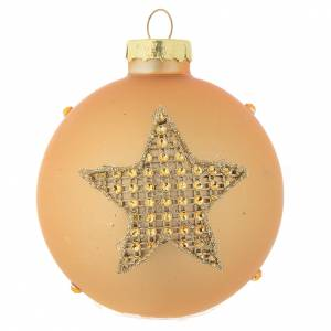 Christmas balls: Glass bauble, gold with rhinestones, 70mm diameter
