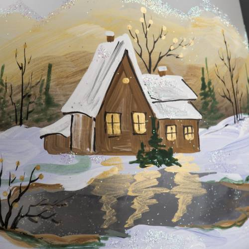 Glass candle holder, Christmas landscape, snow s3