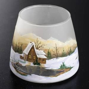 Glass candle holder, Christmas landscape, snow s2