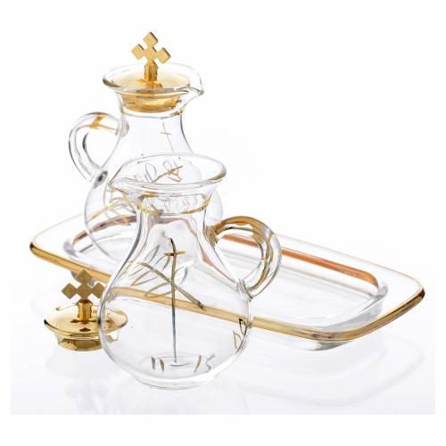 Glass cruet set with golden decoration s2