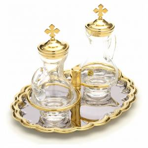 Glass cruet set with nickel and gold-plated brass tray s4