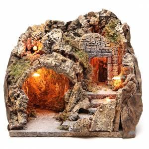 Grotte illuminée 23x25x20 cm avec escalier s1