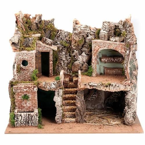 grotte pour crèche et village, 60x40x50, 2 niveaux s1