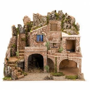grotte pour crèche, fontaine et village illuminé, s1
