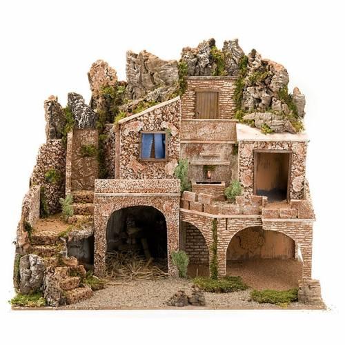 grotte pour crèche, fontaine et village illuminé, 1