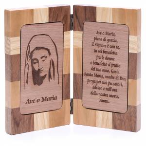 Statues Our Lady of Medjugorje: Hail Mary bas-relief with three types of wood