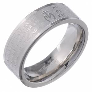 Hail Mary prayer ring in Italian - stainless steel LUX s1