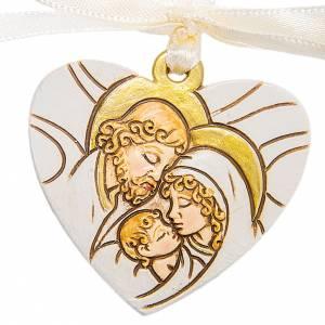 Heart pendant Holy Family 4cm s1
