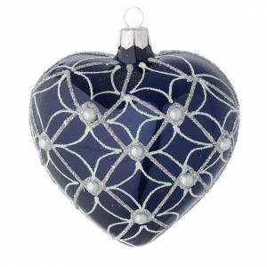 Christmas balls: Heart Shaped bauble in blue blown glass with pearls and silver decorations 100mm