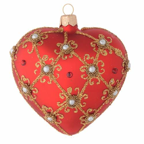 Heart Shaped bauble in red blown glass with pearls and gold decorations 100mm s1