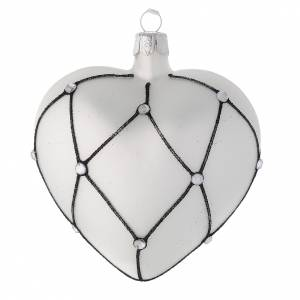 Christmas balls: Heart Shaped bauble in white blown glass with black decoration 100mm