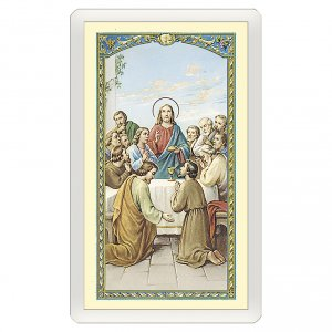 Holy cards: Holy card, Last Supper, Meal Prayer ITA 10x5 cm