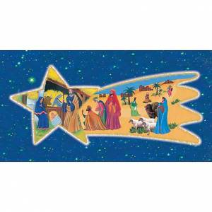Holy cards: Holy Card, nativity with Wise Kings on comet