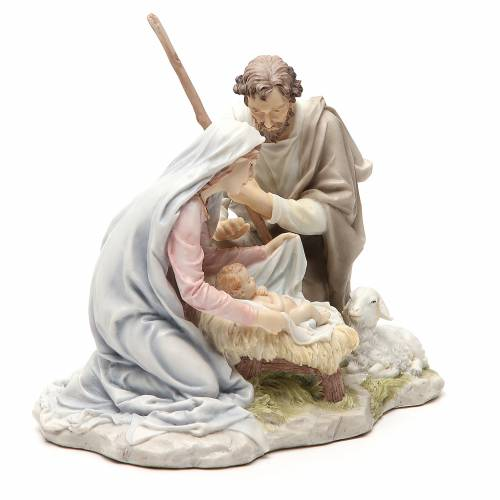 Holy Family 20cm painted resin s4