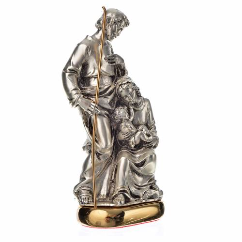 Holy Family with music box in metal-coloured resin 16cm s2