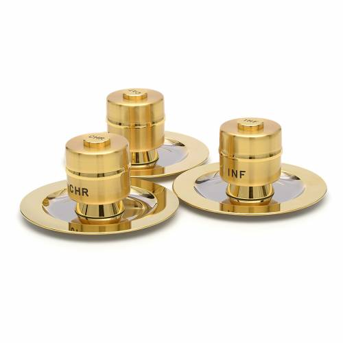 Holy Oils: Stock, gold plated brass, with a saucer s2