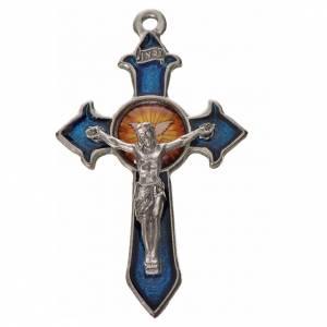 Holy Spirit pointed cross 4.5x2.8cm in zamak, blue enamel s1