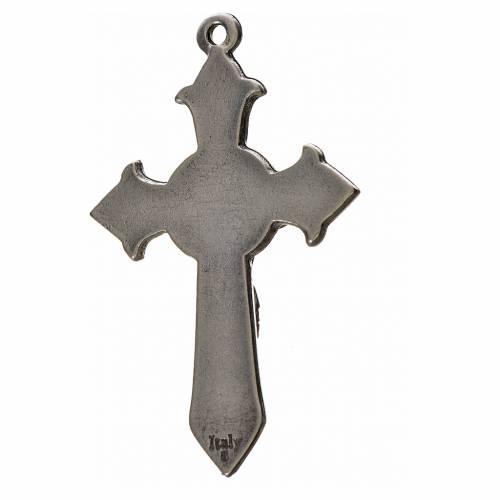 Holy Spirit pointed cross 7x4.5cm in zamak, blue enamel s2
