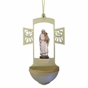 Holy Water font in carved wood, Mother Teresa s1
