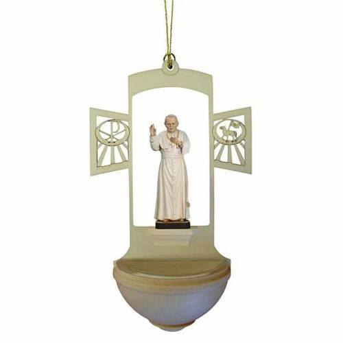 Holy Water font in wood, John Paul II s1