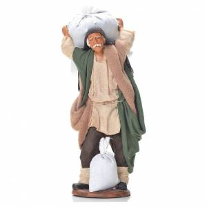 Belén napolitano: Hombre con bolsas de harina 14 cm belén napolitano