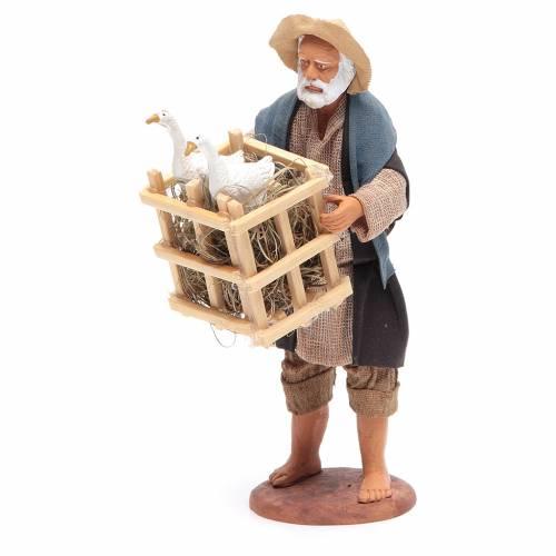 Homme avec cage et oies 14 cm crèche napolitaine s2