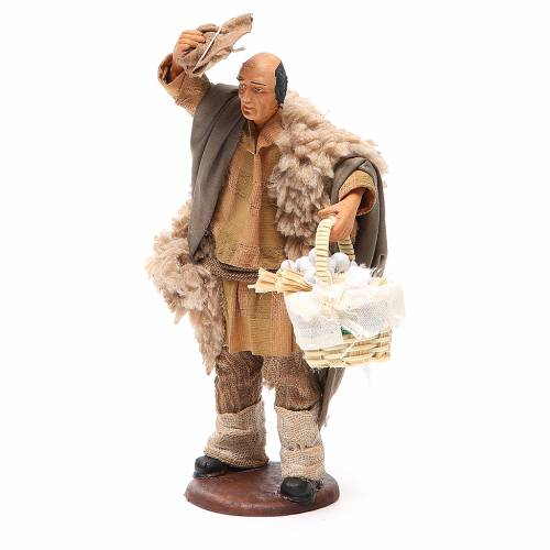 Homme avec chapeau et panier ail 14 cm crèche napolitaine s2
