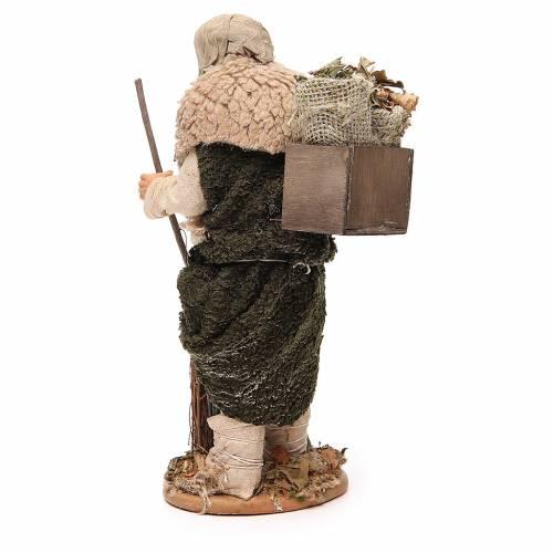 Homme caisse feuilles et balais 30 cm crèche Naples s3