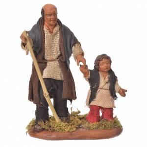 Homme et enfant main dans la main 10 cm crèche Naples s1