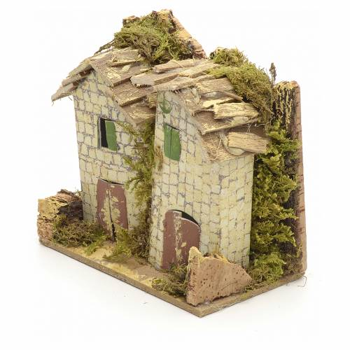 House for nativities 10x6cm with rocks s3
