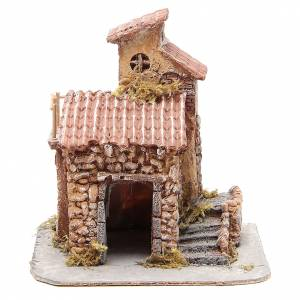 Neapolitan Nativity Scene: House in wood and resin for Neapolitan nativity scene, 25x22x20cm