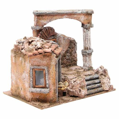 House with hut and roman column for nativity 28x30x20cm s3