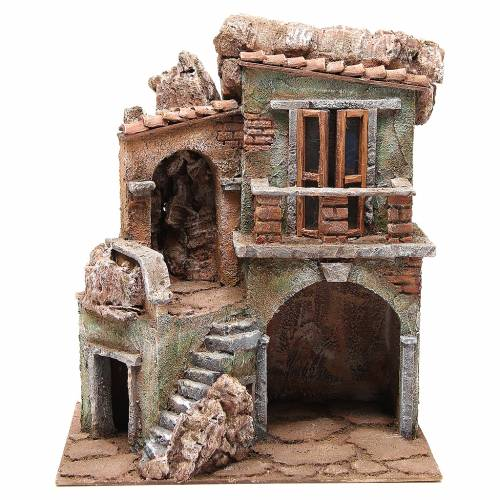House with Shed for nativity 35x29x22cm s1