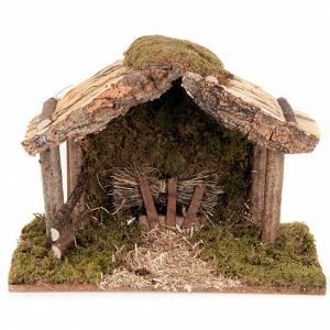 Krippe Hütten und Grotten: Huette Krippe Holz Kork Moos 35x20x24