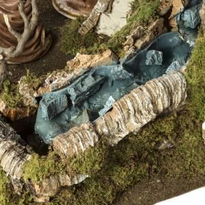 Krippe Hütten und Grotten: Hütte für Krippe mit Wasserfall und Herd 78x110x66 cm
