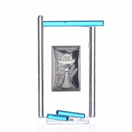 Icon Holy Communion silver and Murano Glass, Aquamarine 13x8cm s1