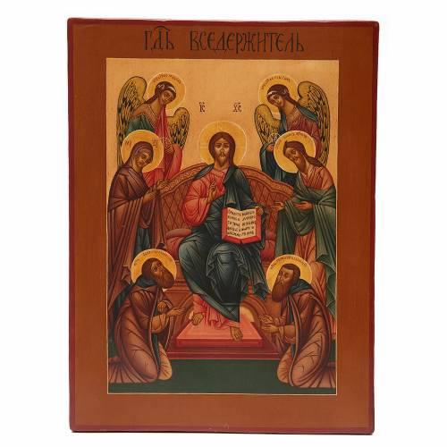 Icona antica russa Pantocratore XIX secolo Restaurata s1