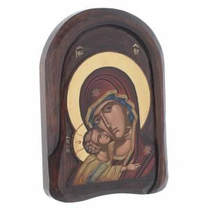 Icona bassorilievo primo piano della Vergine Vladimir 25x15 cm s2