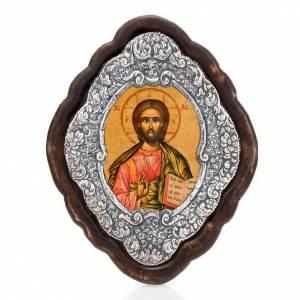 Icona cornice argento Pantocratore s1