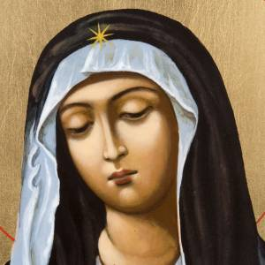 Icona dipinta russa Vergine Tenerezza Umilenie s2