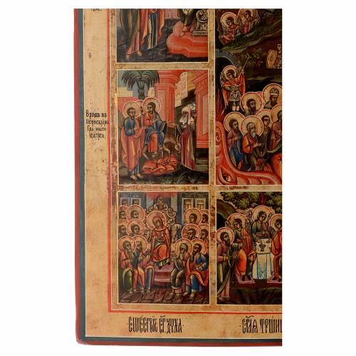 Icona le 12 feste antica Russa 54x37 cm s8