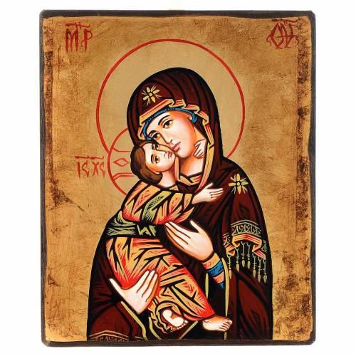 Icona Vergine del Don manto rosso antichizzata s1