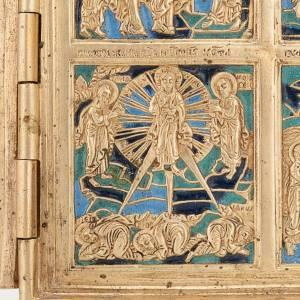 Icona quadripartita da viaggio antica bronzo XIX secolo s5