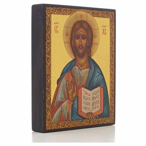 Icona russa dipinta Cristo Pantocratico 14x11 cm s2