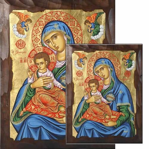 Icona Vergine Glikasmos blu serigrafata s1
