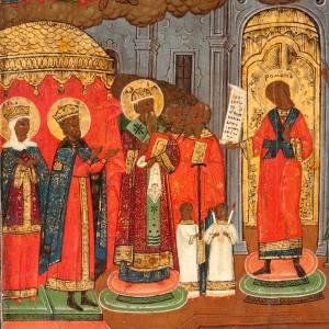 Icône ancienne Pokrov, protection de la mère de Die s4