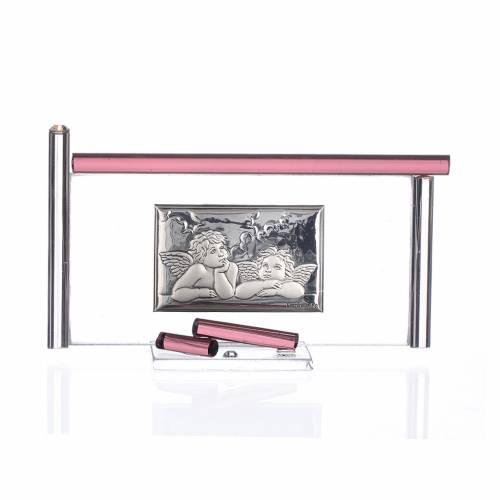 Icône Anges argent et verre Murano violet 13x8 cm s1